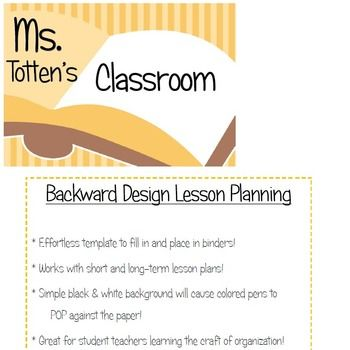 Backward Design - Lesson Plan Template School Stuff Pinterest