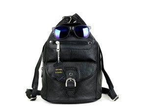 50e3e0089400 Women Genuine Leather Sling Purse Handbag Shoulder Bag Backpack Slouch  Organizer with Free Wayfarer REVO Sunglasses