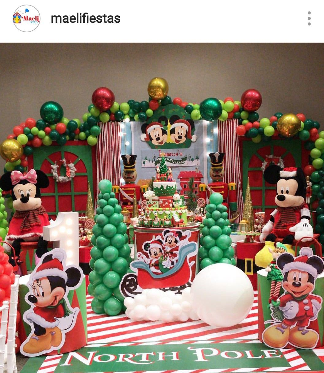 Christmas Birthday Party Idea.Mickey And Minnie Mouse Christmas Village Dessert Table And