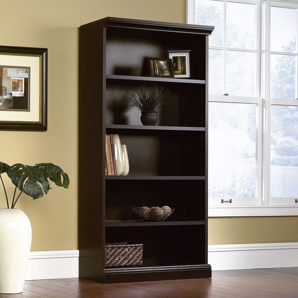 Sauder Library 5Shelf Bookcase, Black Bookcase, 5 shelf