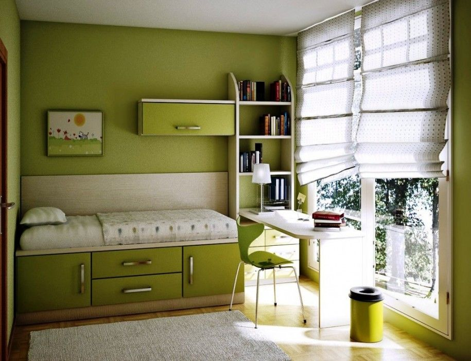 Attrayant Room Design With Modern Furniture: Green Wall, Bookcase, Gray Carpet, Study  Table