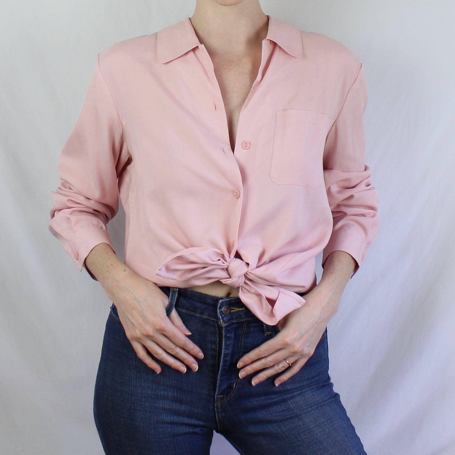 M L Vintage 90s shirt top SALE Floral Silk Blouse