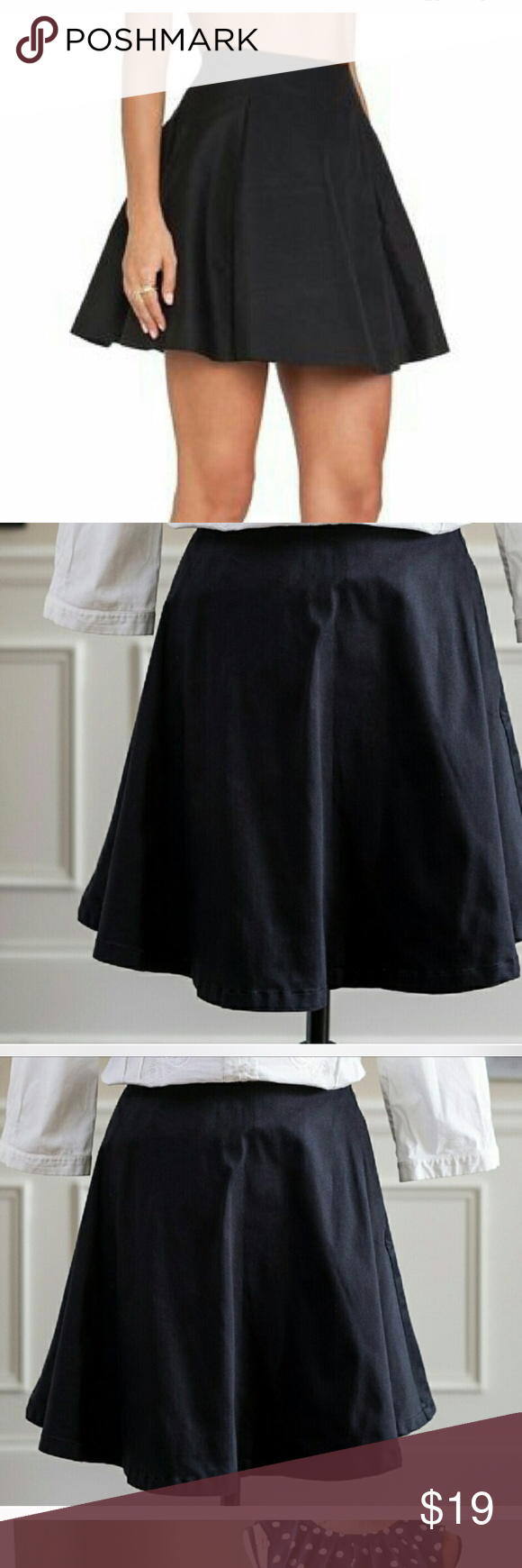 Kate spade ♠️ skater skirt solid black Versatile easy to wear flirty skirt. Used condition some fading kate spade Skirts Circle & Skater