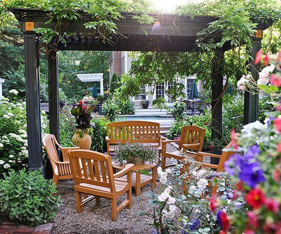 small garden ideas | small gardens, wooden pergola and gravel patio - Tiny Patio Garden Ideas
