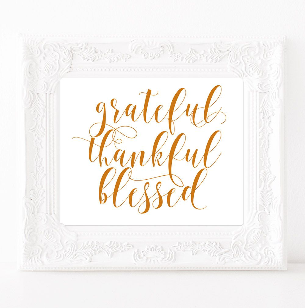 Fall Wall Art grateful thankful blessed sign friendsgiving printable blessed