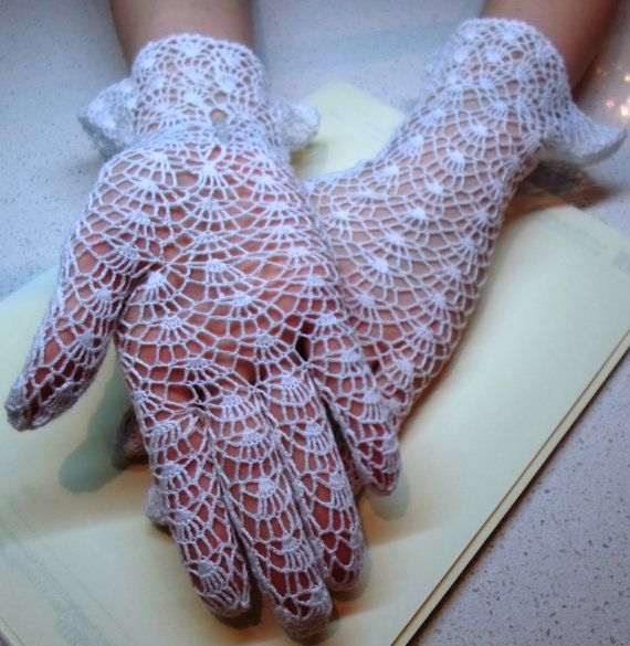 Vintage Style Crochet Lace Gloves, white, wedding | Tejidos ...