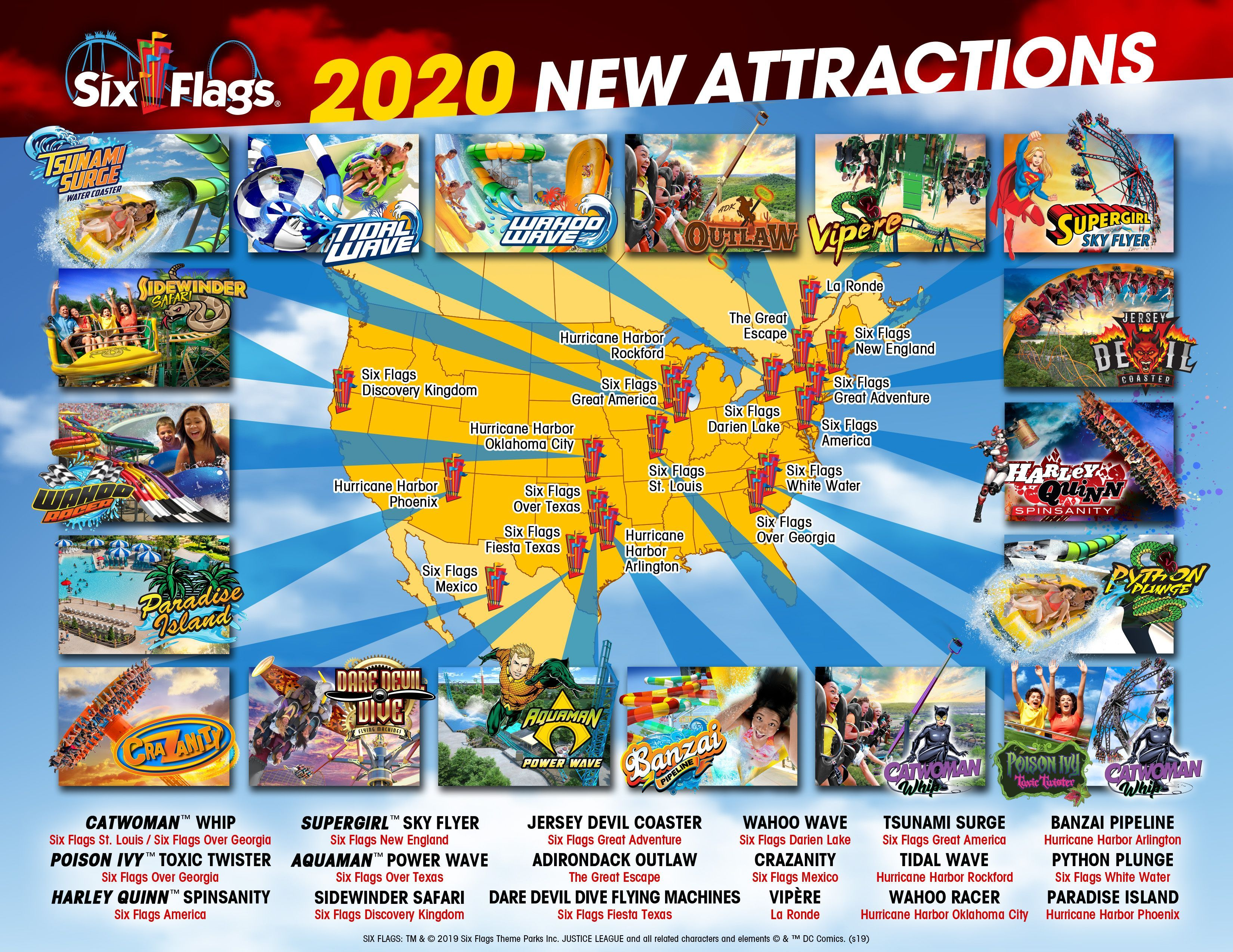 Six Flags Parks Announces New Coasters Waterslides And More Coming In 2020 Six Flags Waterslides Darien Lake