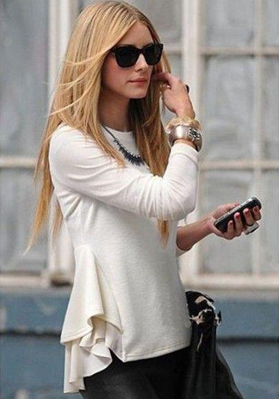inspiration, side view : Beige Patchwork Chiffon Ruffles Long Sleeve Cotton T-Shirt