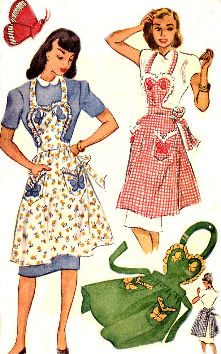 Vintage 40s Apron Pattern - McCall 1257 - Sweetheart Bib - Butterfly ...