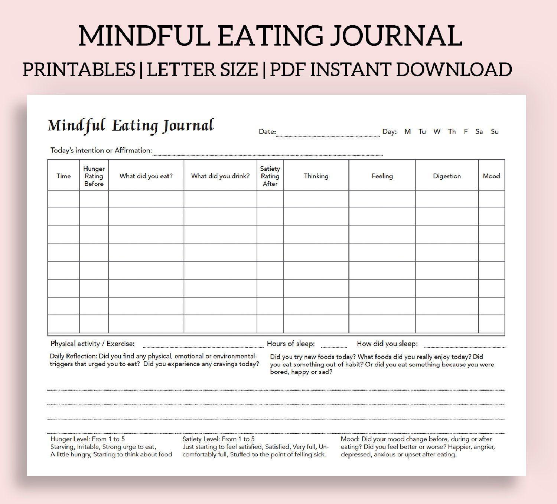 Emotional Eating Worksheet Printable