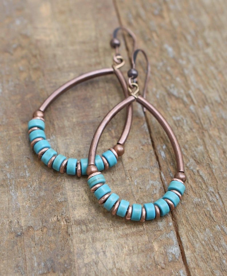 Turquoise Hoop Earrings, Turquoise Earrings, Turquoise Jewelry, Copper Hoop Earrings, Boho Jewelry, Gift for Her
