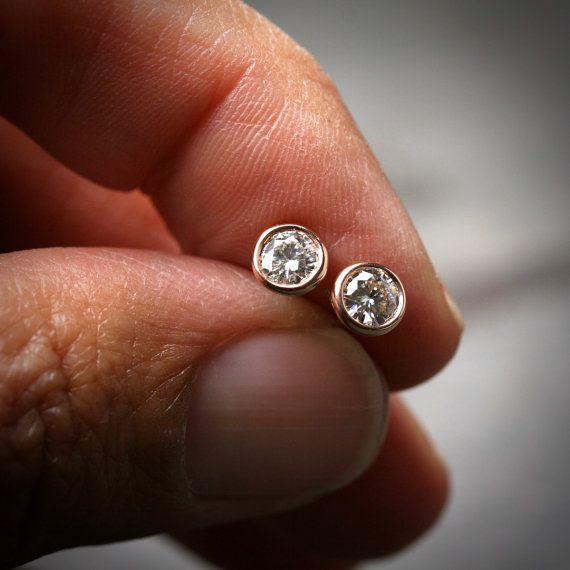 744ad4f81 Bezel set 14k rose gold and round brilliant cut Moissanite stud earrings  4mm Set in solid 14k rose gold, these Moissanite earrings are incredible!