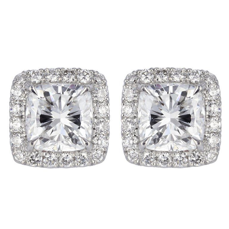 View This Item And Discover Similar Stud Earrings For At 18 Karat White Gold Halo Style Consisting Of 2 Cushion Cut Diamonds 1 Weighing