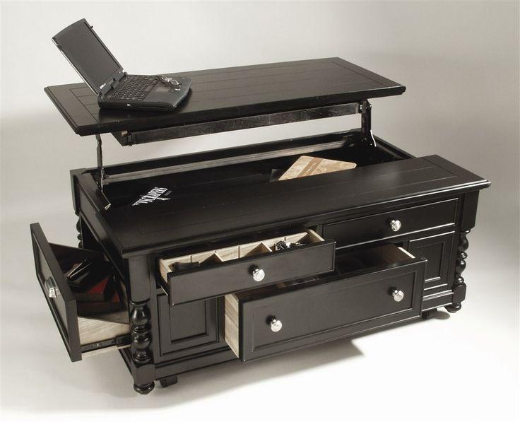Innovative Design Black Coffee Table With Storage Transformer