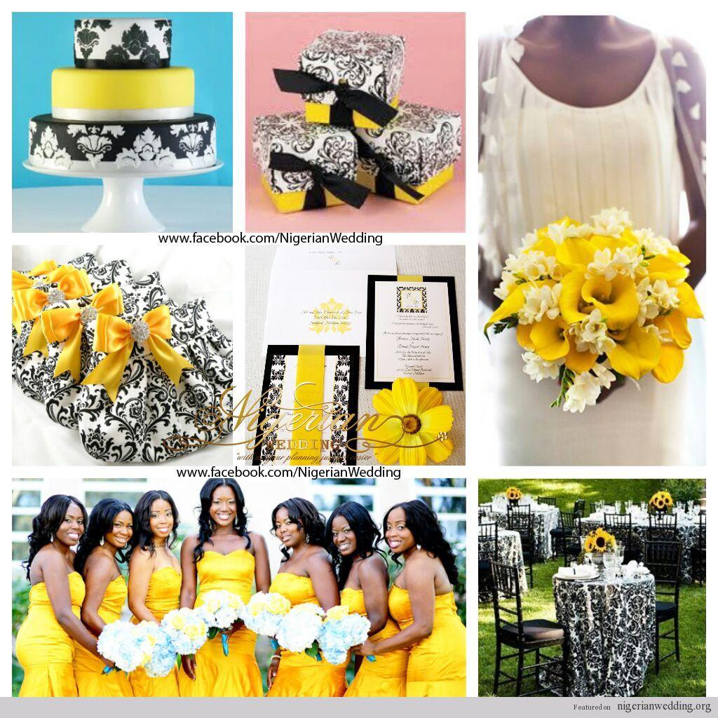 Black White Wedding Theme: Nigerian Wedding Colors: Black, White & Yellow Damask