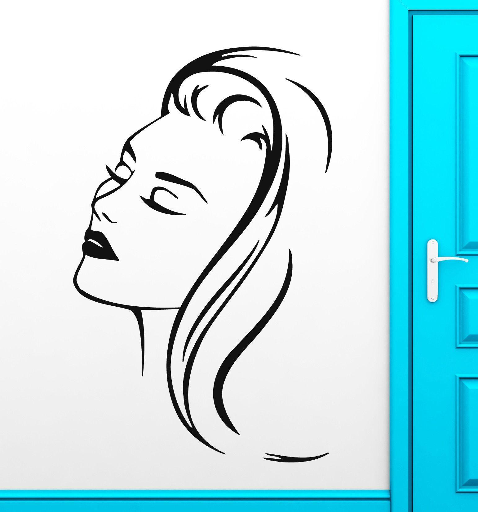 Vinyl decal beautiful woman portrait barbershop beauty salon wall