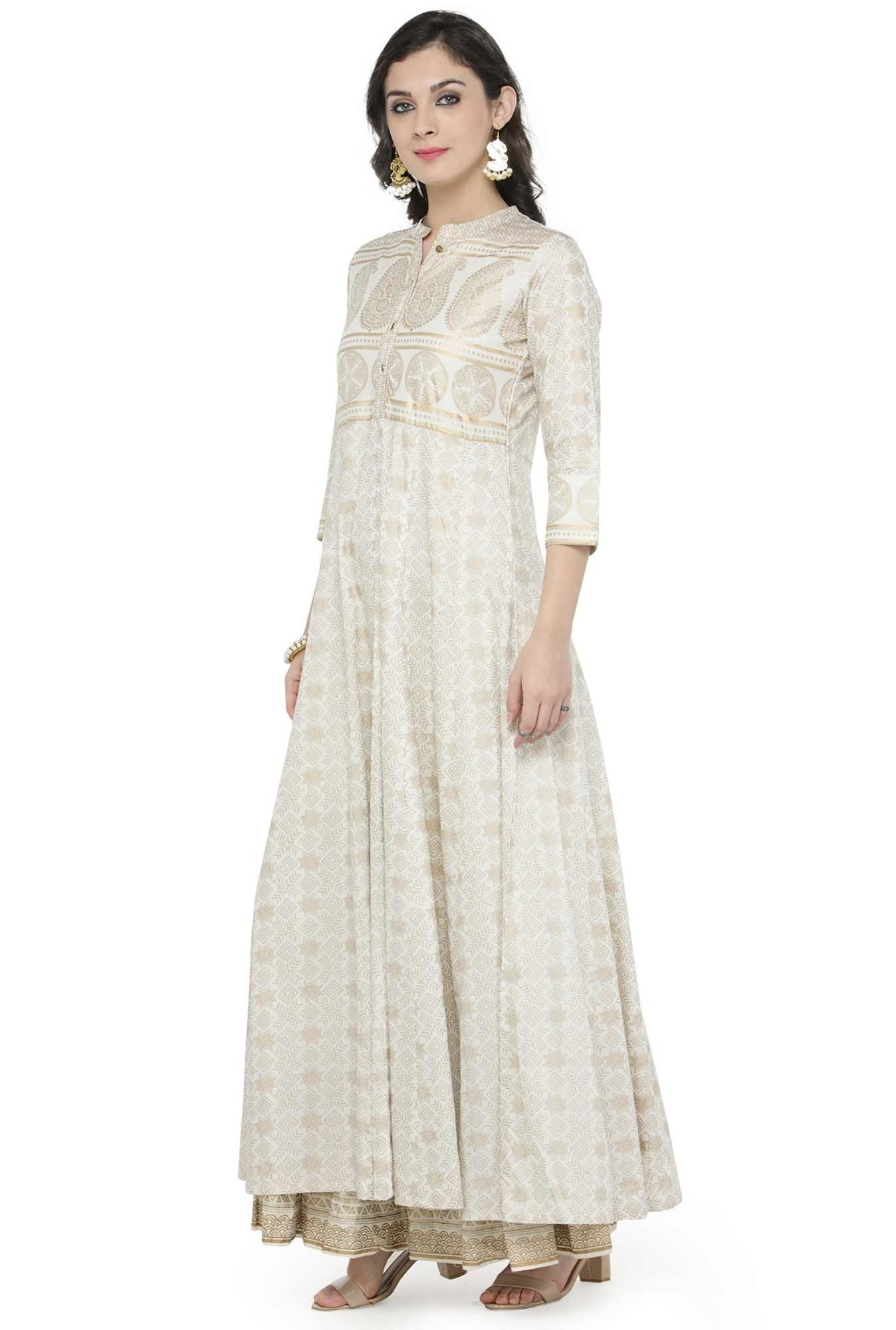 050e234ec1 Varanga Off White Viscose Rayon Kurta With Skirt | ClothMagic in ...
