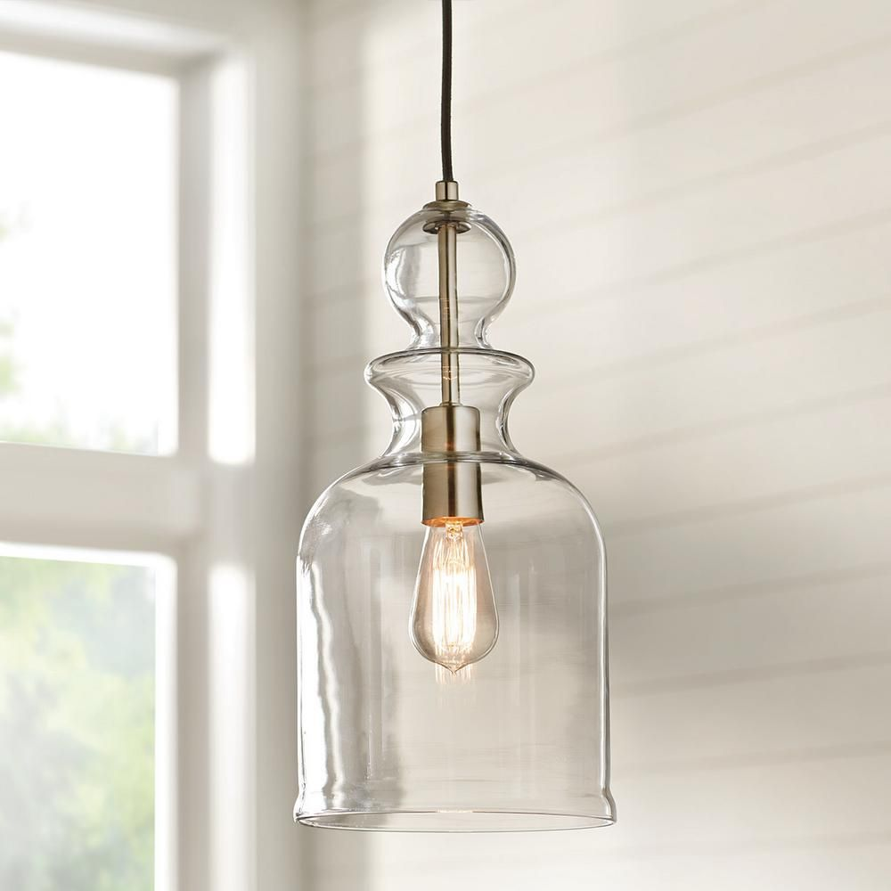 Home Decorators Collection 8 38 In 1 Light Brushed Nickel Pendant With Clear Glass Shade 7942hdc Glass Pendant Light Farmhouse Pendant Lighting Bathroom Pendant Lighting