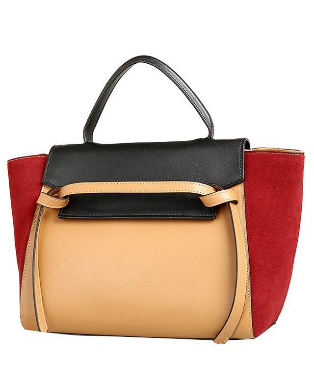 Contrast Color Split Joint Diagonal Handbag