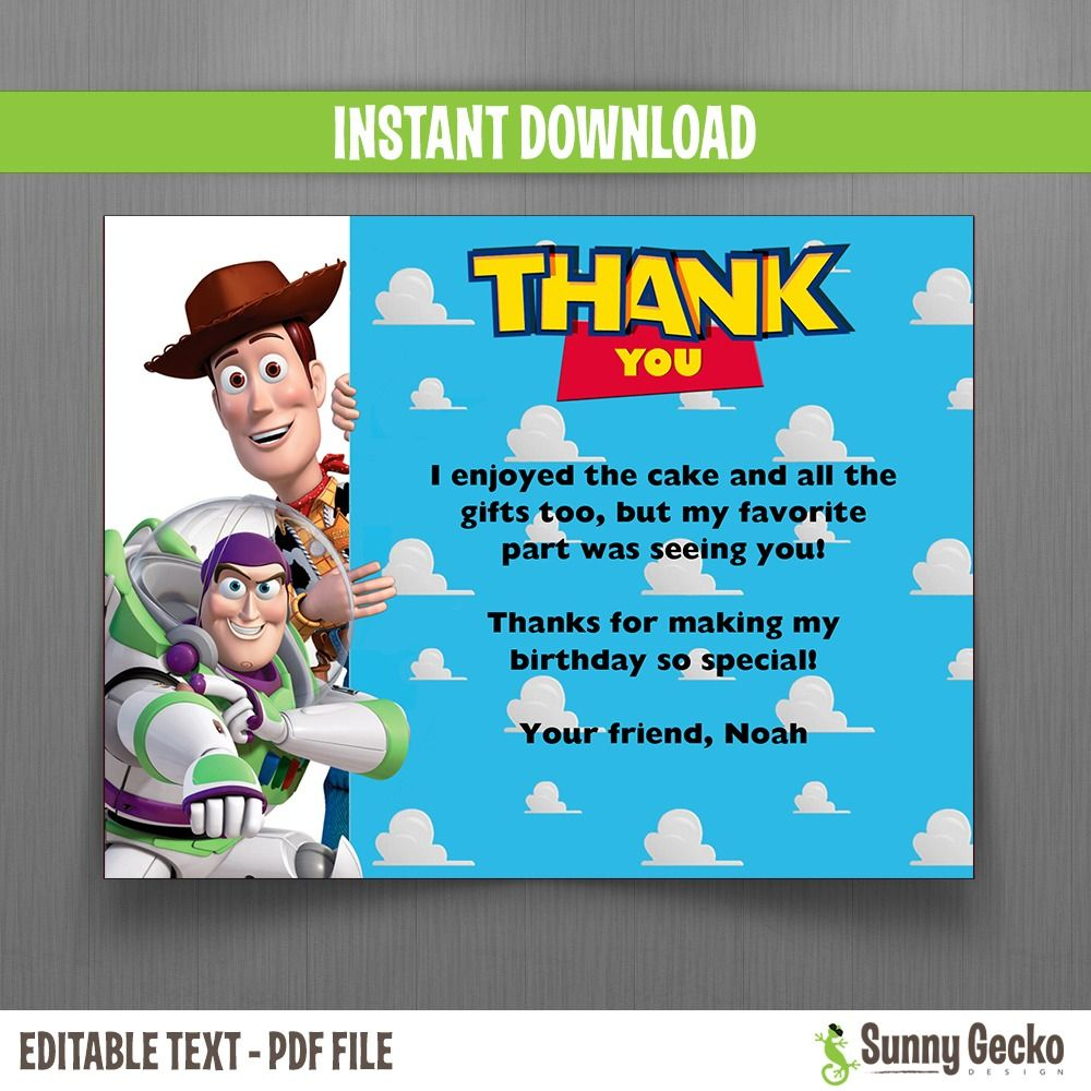 Toy Story Birthday Thank You Cards Toy Story Birthday Birthday Thank You Cards Birthday Thank You