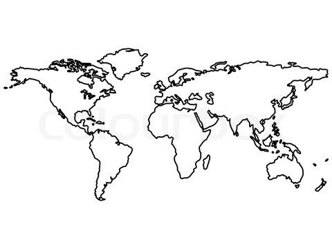 Image of \'black world map outlines isolated on white, abstract art ...