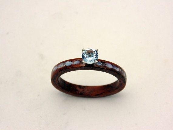 Handmade Wood Engagement Ring Waterfall Bubinga With Auqamarine Set