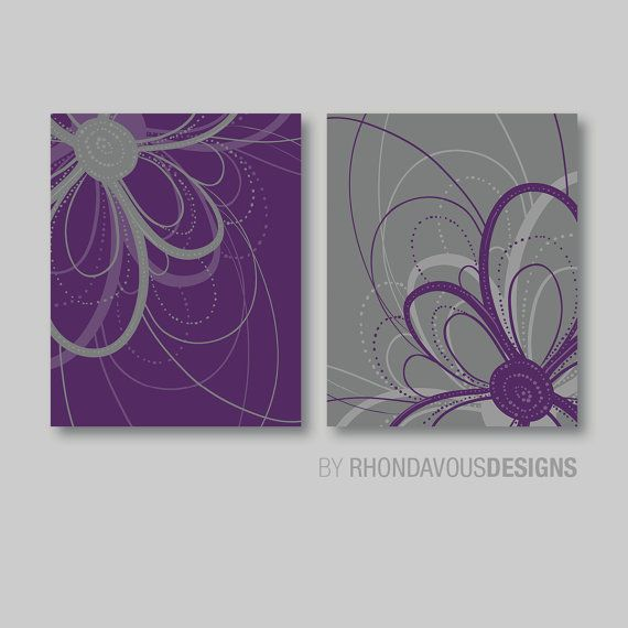 Flower Art Print: This two-print set features two abstract images of a swirly flower on a solid background. The colors used are: purple and