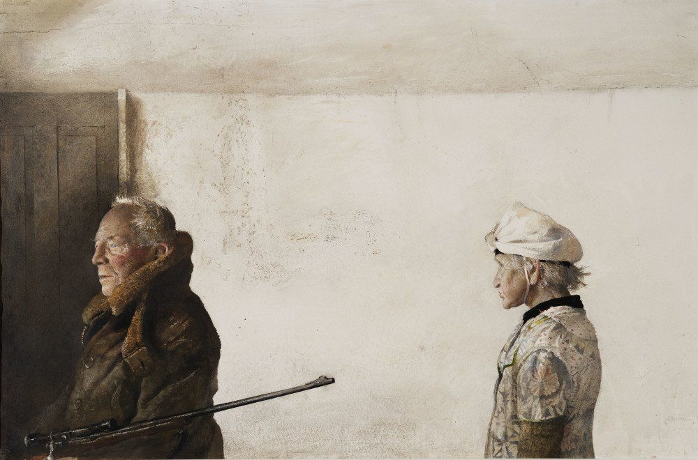 """""""The Kuerners"""" Andrew Wyeth 1971, 67×102 cm"""