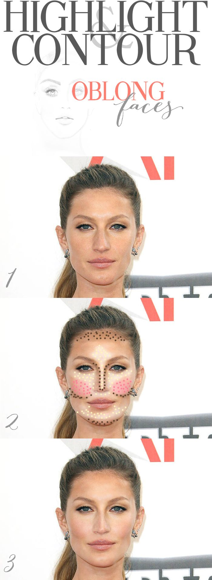 Highlighting and contouring for oblong faces.  Big difference to notice here is you want to be very careful not to contour the sides of your face and instead to shade right beneath your cheekbones and beneath the apples of your cheeks.  Another tip is to be careful with blush choices, use something vibrant or light in color as apposed to something dark so that it doesn't sink in your gorgeous cheeks!