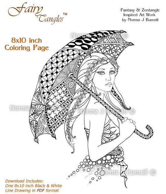 Sunday Stroll - Fairy Tangles 8x10 Printable Adult Coloring Book ...