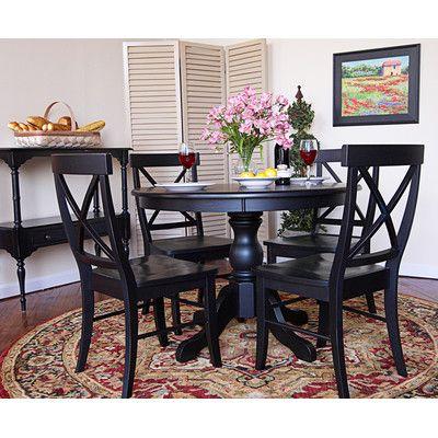 Carolina Cottage Essex 5 Piece Winslow Pedestal Dining Table Set In Antique Black
