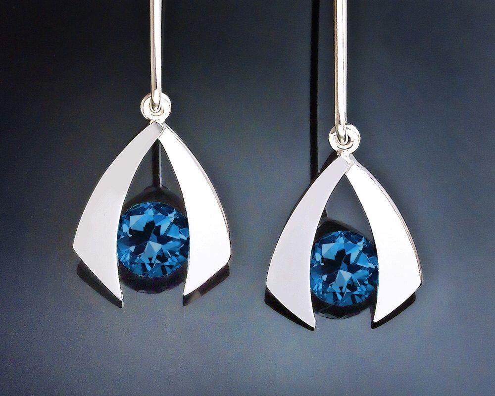 blue topaz earrings - dangle earrings - London blue topaz - silver earrings - tension set - modern jewelry - 2424 by VerbenaPlaceJewelry on Etsy https://www.etsy.com/listing/198684901/blue-topaz-earrings-dangle-earrings