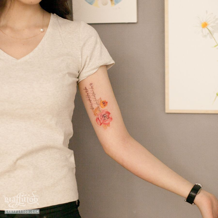 장미 수채화 타투 by 타투이스트 리버. 장미. 꽃. 어깨. 여자. 수채화. 포인트. 분당. 타투