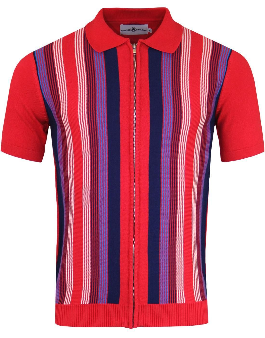 50f176f8d581c8 Men's Mod zip through short sleeve polo cardigan in Chinese Red. Red  knitted polo with white, navy and royal blue fine vertical stripes to front.