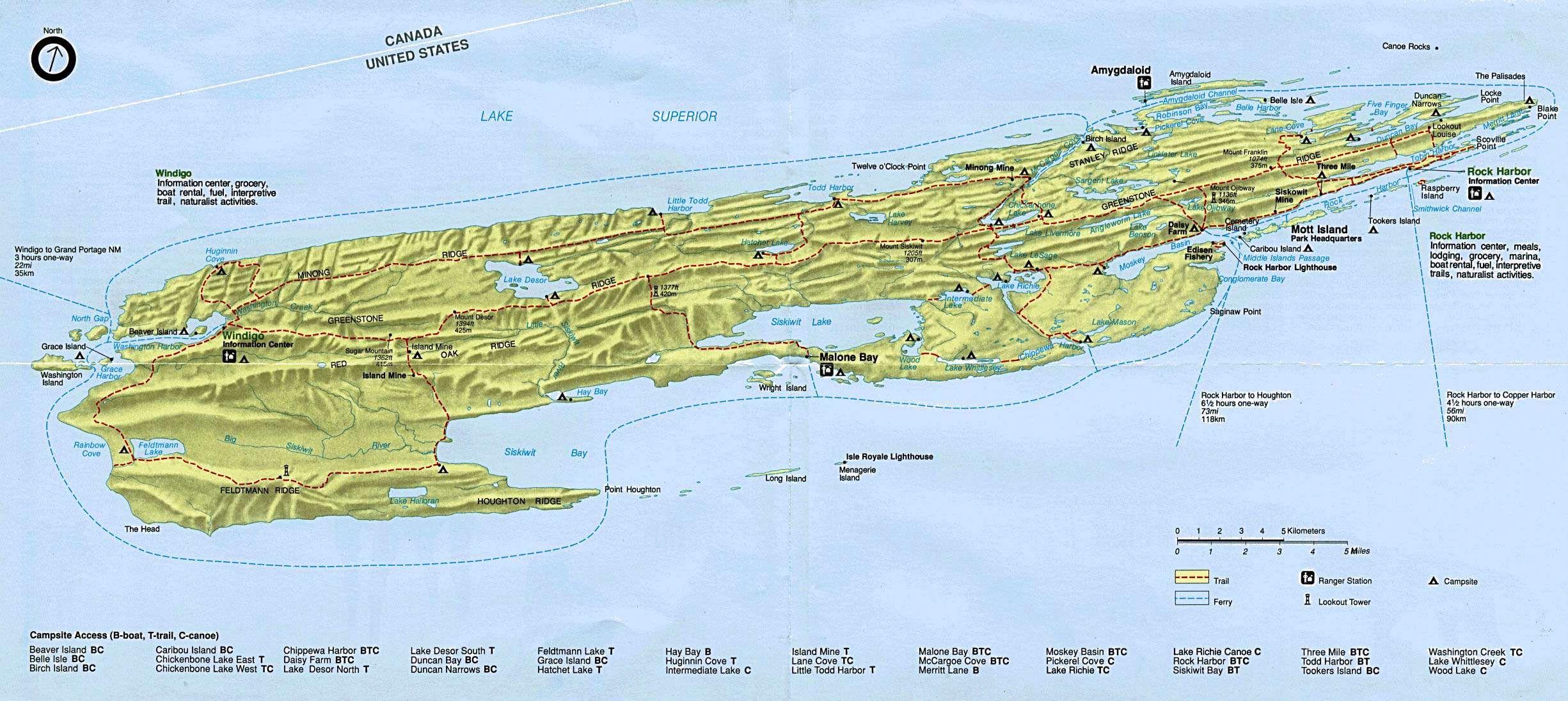 isle royale map by sea kayak!