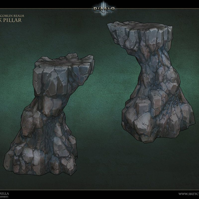 rock assets i created for diablo 3 reaper of souls treasure goblin realm this was fun to work on because i was able to use various methods of creation from