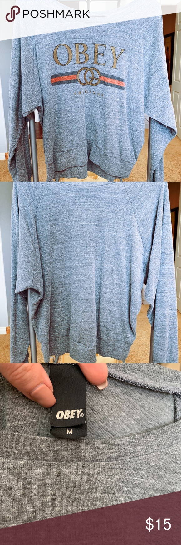 I just added this listing on Poshmark Obey Grey Off The Shoulder Sweater