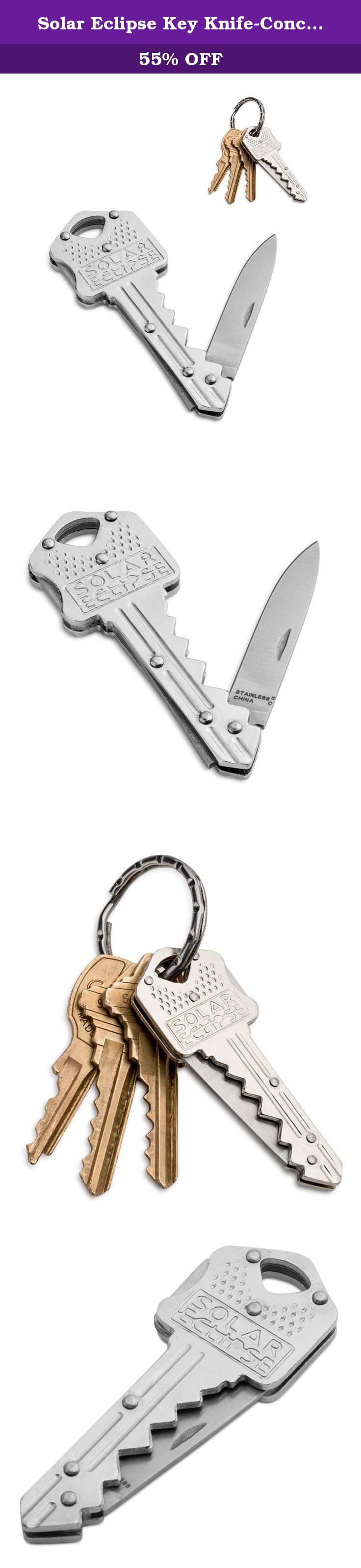 Solar Eclipse Key Knife-Concealed Box Cutter/Knife for Key-chain or Pocket With Safety Locking Feature. Have you ever found your self needing to cut packaging, an apple, but don't have a knife?! The is the perfect knife for those who don't want to carry a knife!! Shaped like a standard house key allowing you to carry it on your key-chain without hassle. The Solar Eclipse Key blade conceals a 1.5 inch knife that is sharp enough to cut through all the tape,packaging, food or anything else…