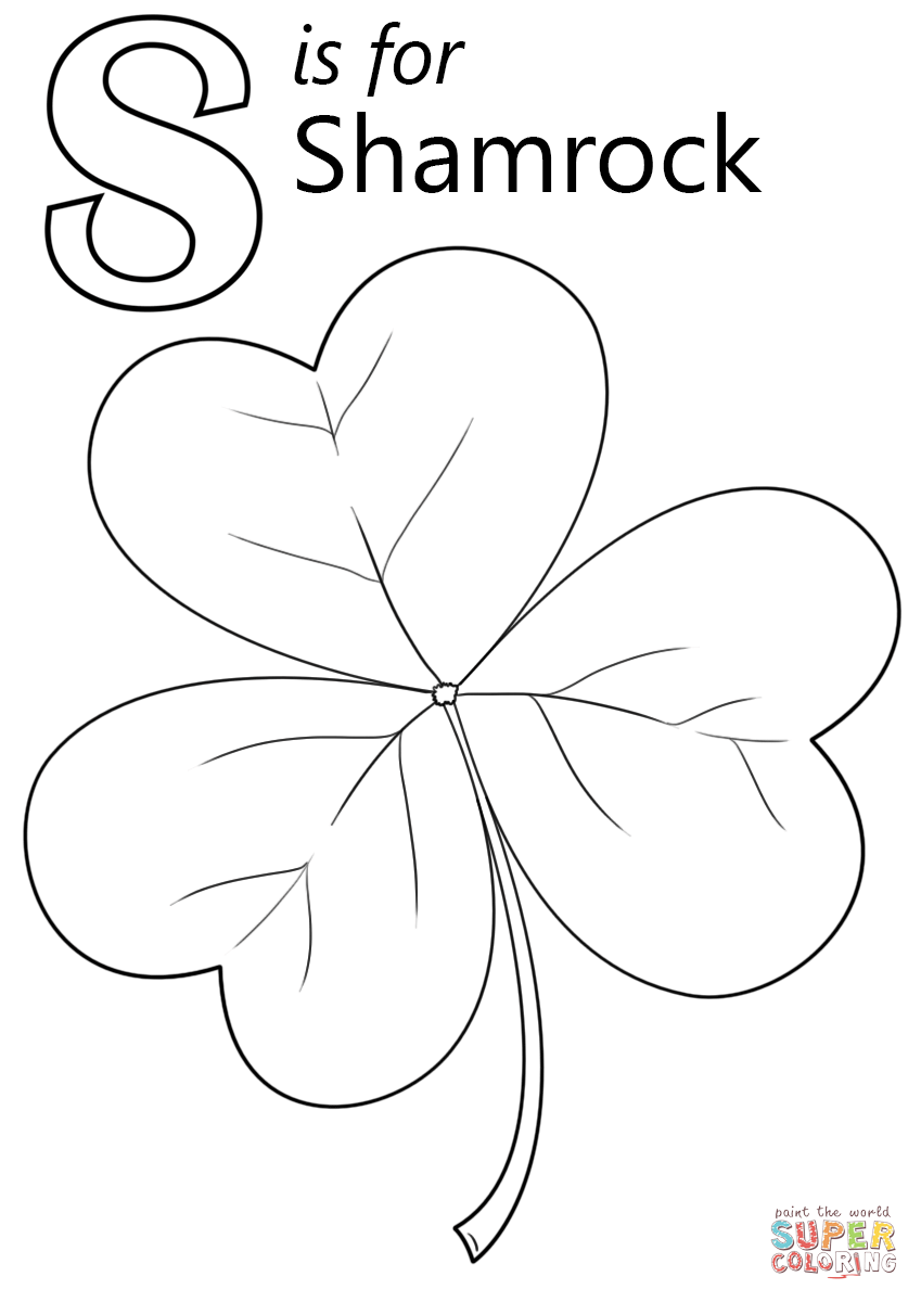 Letter S is for Shamrock Super Coloring Free printable