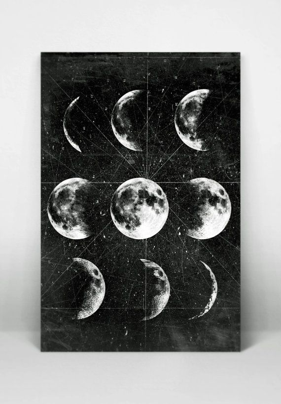moon poster full moon moon art with moon phases astronomy. Black Bedroom Furniture Sets. Home Design Ideas