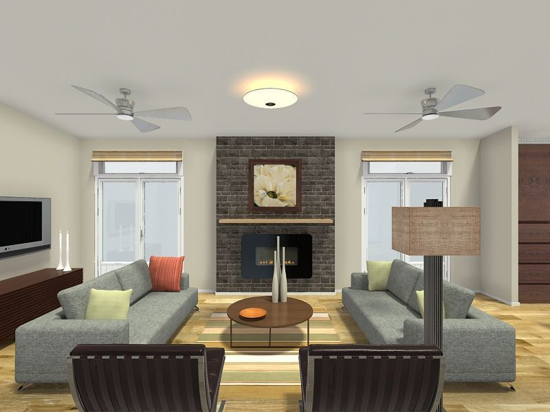 3D Floor Plan For A Living Room With Dual Sofas Hardwood Flooring And Fireplace