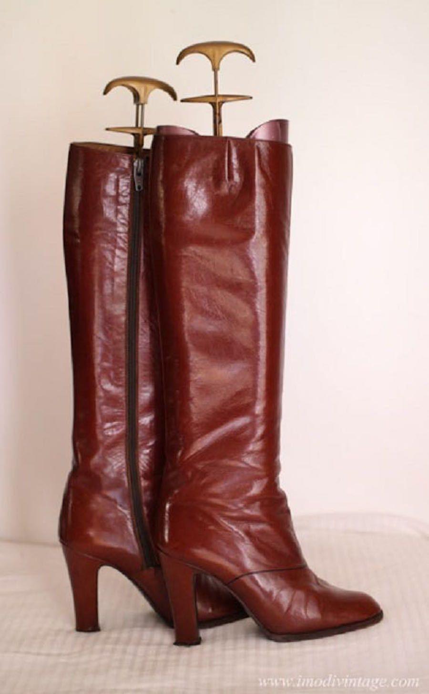 Bottes années vintage en marron 7080 cuir boutique de la rdhstQ