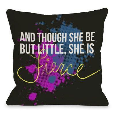 One Bella Casa She Is Fierce Fleece Throw Pillow Size: 1