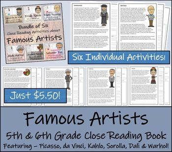 Photo of Famous Artists – Bundle of Six Close Reading Activities