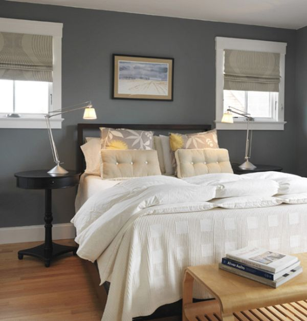 blue grey bedrooms walls brown furniture