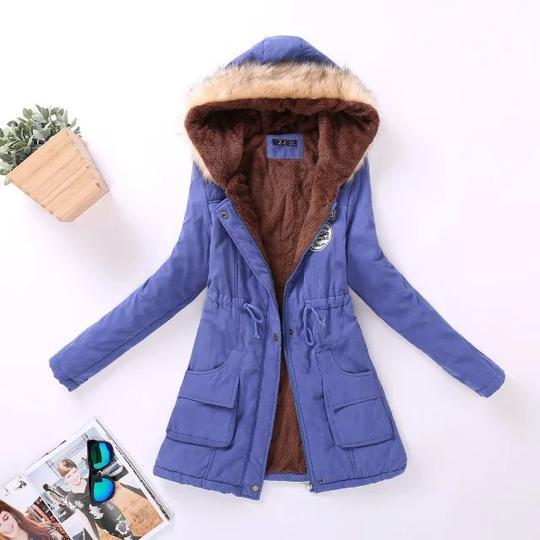 Ladies Long Winter Quilted Coat fur Collar Parka Coat 36 38 40 42 44 S M L Blue