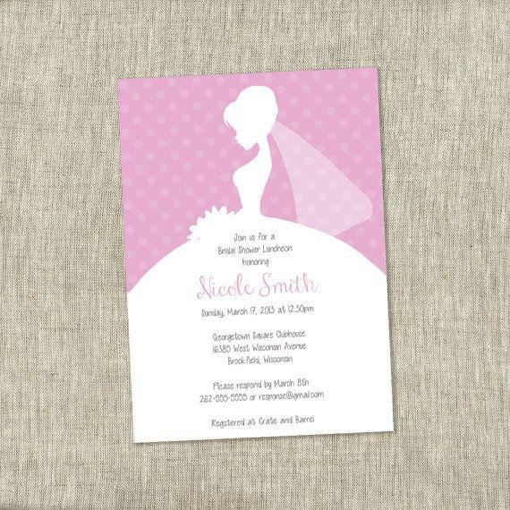 Bridal Shower Invite, Bride Veil Bridal Shower Invite, Polka Dots, Pink, Feminine Invite, Lady-like - Customizable  - PRINTABLE / DIY