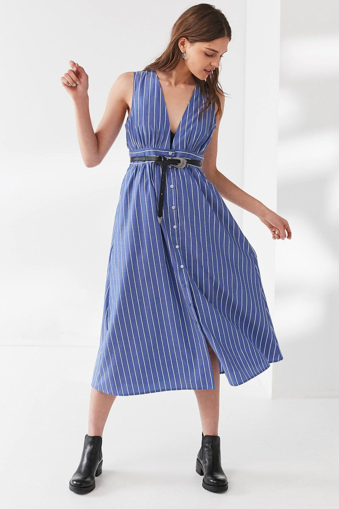 d28bef1ea19a UO Striped Button-Down Plunging Midi Dress | Urban Outfitters Urban Dresses,  Trendy Dresses