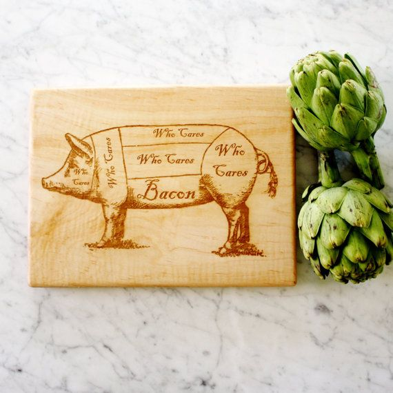 Custom Bacon Lover Cutting Board Personalized Vintage Pig Butcher