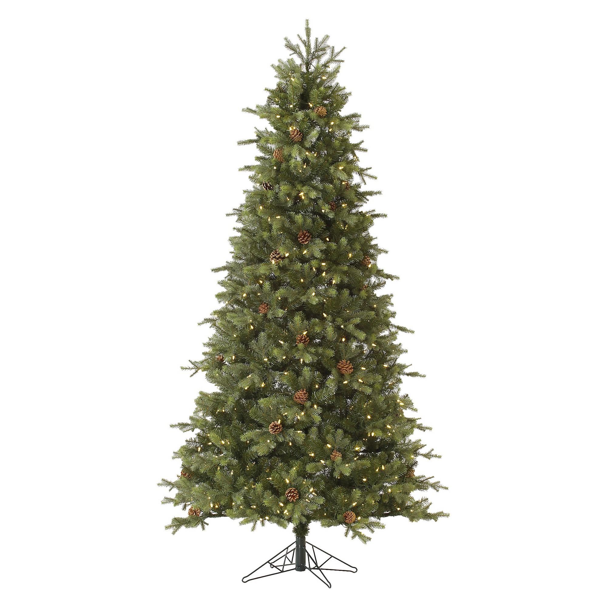 75 pre lit led artificial christmas tree mountain fir slim white lights
